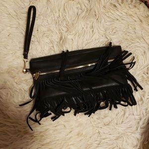 Faux leather fringe clutch bag